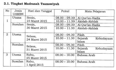 jadwal uambn mts 2015